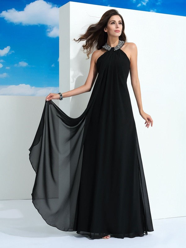 A-Line/Princess Halter Beading Floor-Length Chiffon Dress