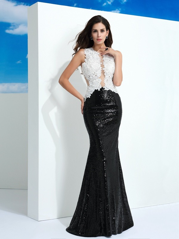 Sheath/Column Scoop Sleeveless Paillette Floor-Length Lace Dress