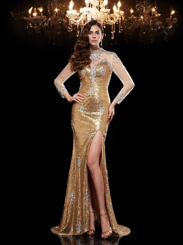 Trumpet/Mermaid High Neck 3/4 Sleeves Sweep/Brush Train Sequins Dresses