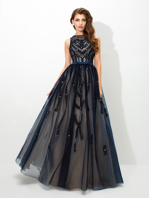 A-Line Sheer Neck Sleeveless Applique Floor-Length Tulle Dresses