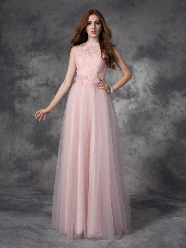 A-Line/Princess Bateau Sleeveless Hand-Made Flower Floor-Length Net Dress