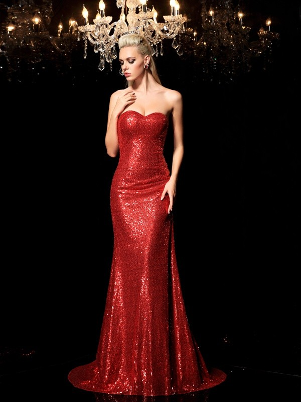 Column Sweetheart Sleeveless Sequin Sweep/Brush Train Sequins Dresses