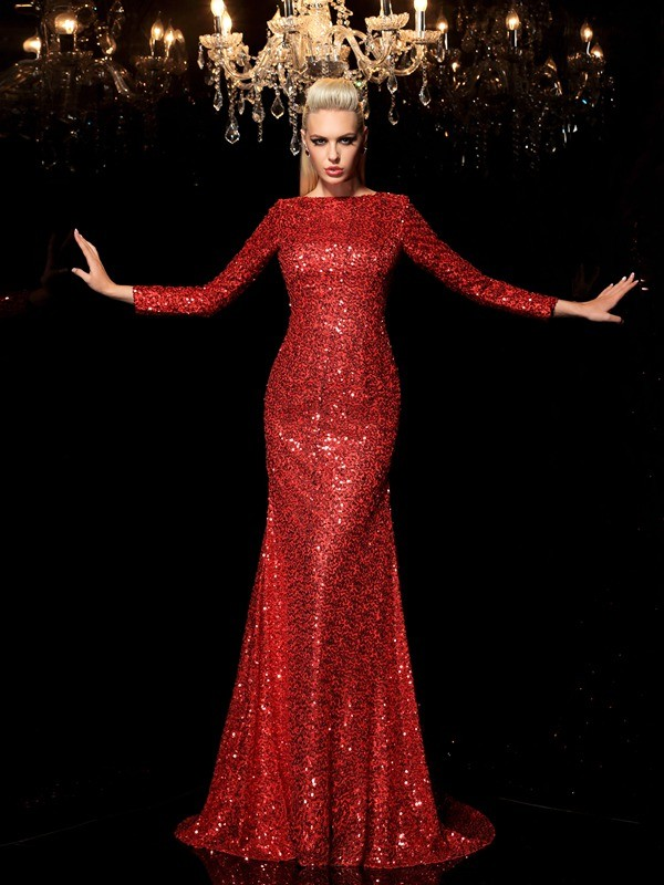 Sheath/Column Scoop Long Sleeves Sequin Brush Train Sequins Dresses