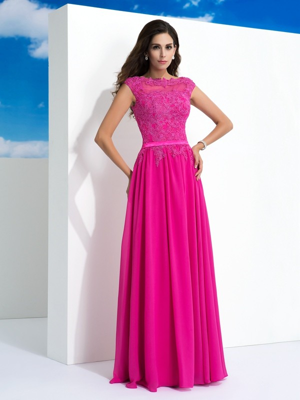 A-Line/Princess Sheer Neck Sleeveless Lace Floor-Length Chiffon Dress
