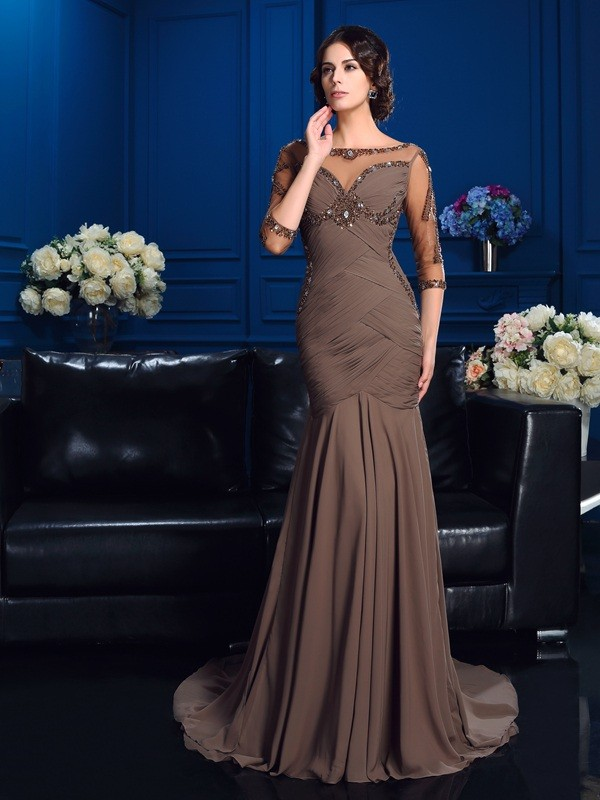 Sheath/Column Scoop 3/4 Sleeves Court Train Chiffon Mother Of The Bride Dresses