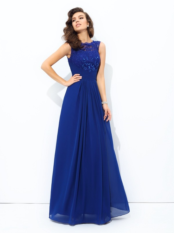 A-Line/Princess Sleeveless Scoop Floor-length Chiffon Lace Dress