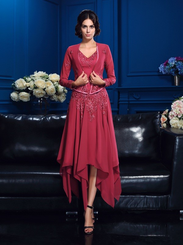 A-Line/Princess V-neck Sleeveless Asymmetrical Chiffon Mother Of The Bride Dresses