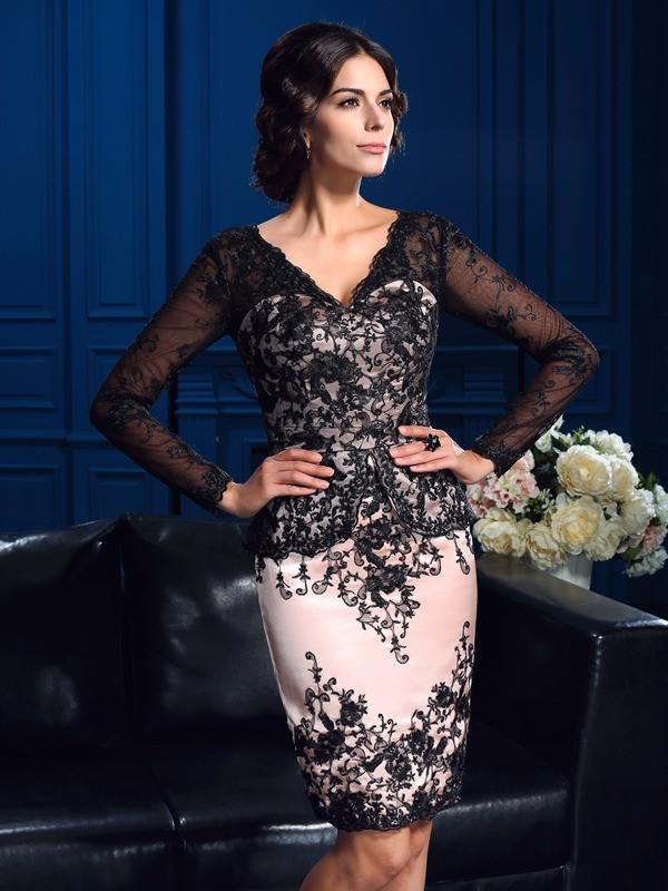 Sheath/Column V-neck Long Sleeves Applique Short/Mini Lace Mother Dresses