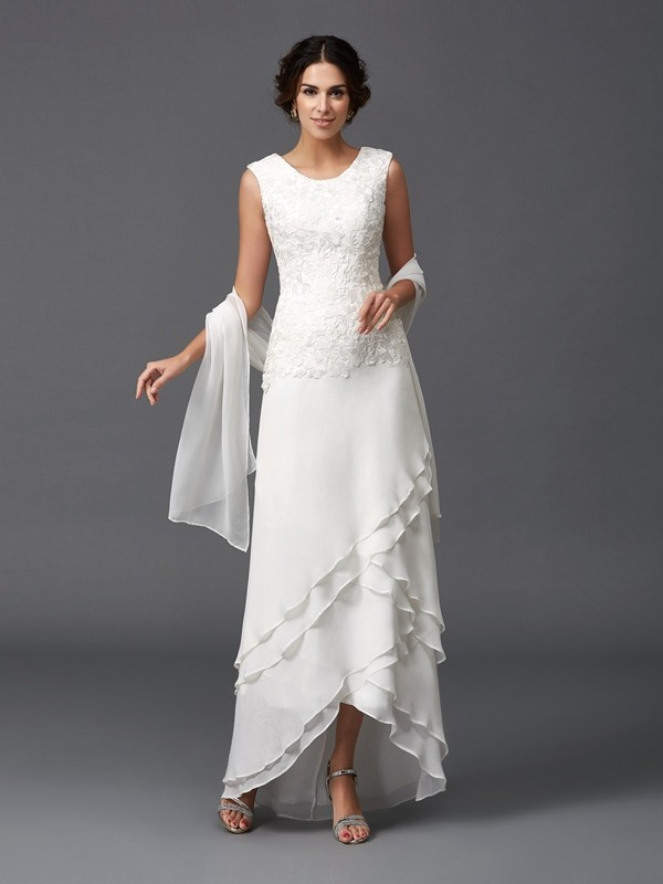 A-Line/Princess Scoop Lace Asymmetrical Chiffon Mother of the Bride Dresses