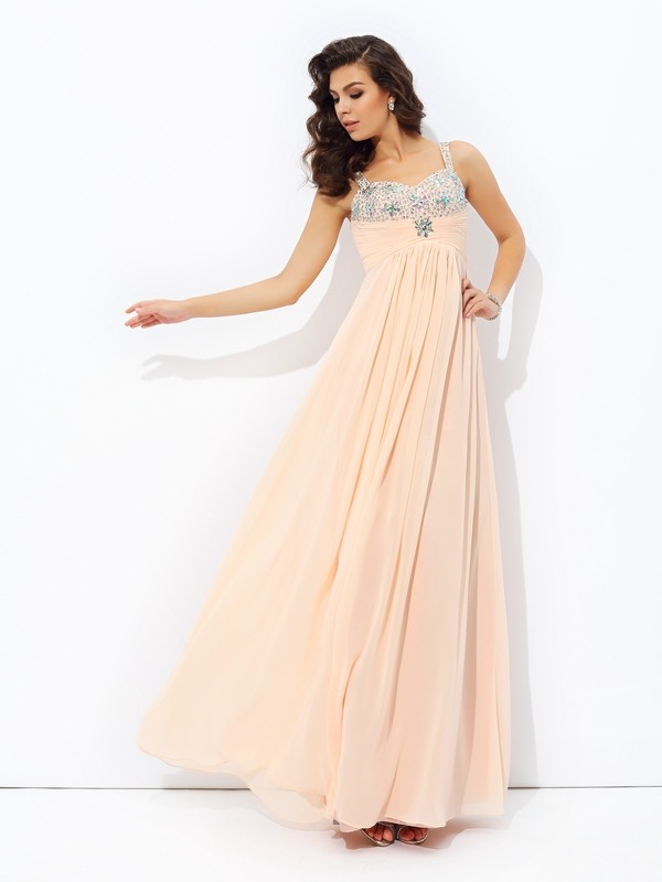 A-Line/Princess Spaghetti Strap Sleeveless Beading Chiffon Floor-Length Dress