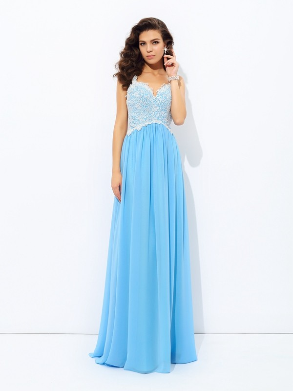 A-Line/Princess V-neck Lace Sleeveless Floor-length Chiffon Dress
