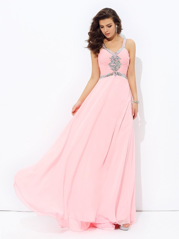 A-Line/Princess Straps Sleeveless Beading Chiffon Dress