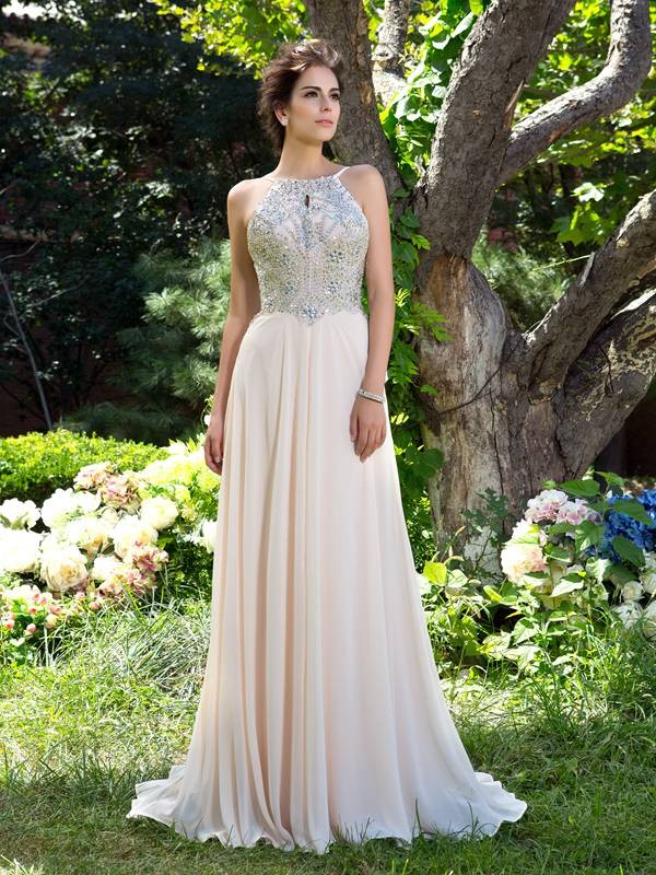 A-line/Princess Spaghetti Straps Sleeveless Beading Sweep/Brush Train Chiffon Dress