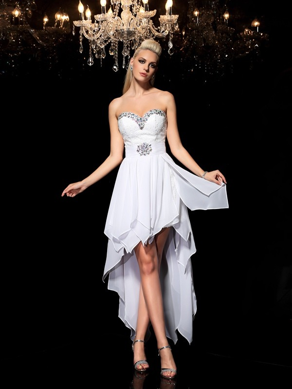 A-Line/Princess Sweetheart Beading Asymmetrical Chiffon Cocktail Dresses