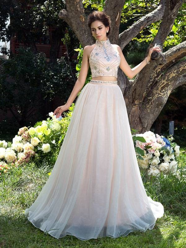 A-Line/Princess Sleeveless High Neck Net Sweep/Brush Train Beading Two Piece Dress