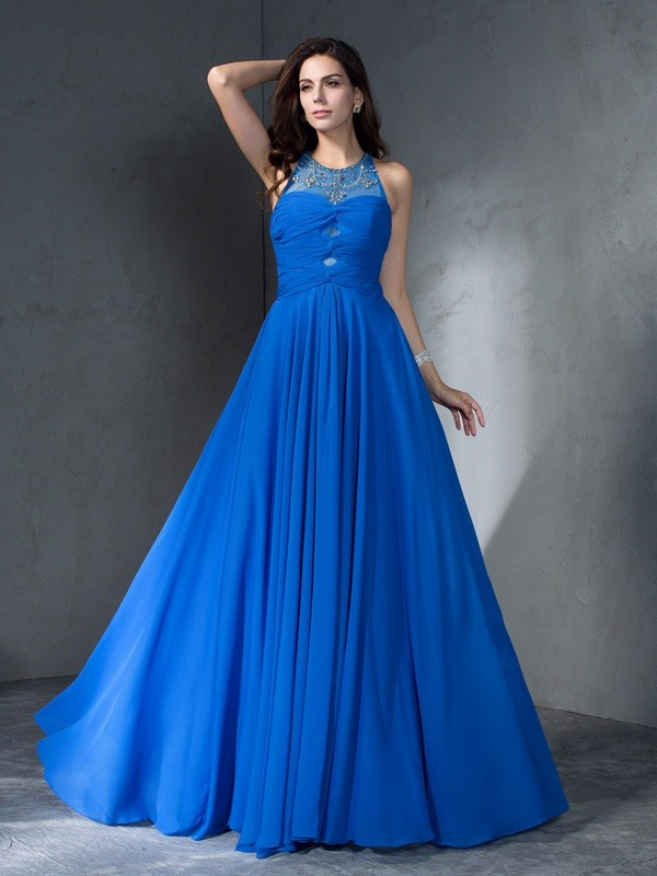 Princess Scoop Sleeveless Beading Sweep/Brush Train Chiffon Dress