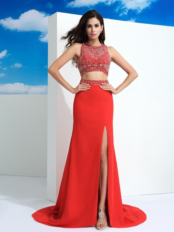Sheath/Column Scoop Sleeveless Beading Court Train Chiffon Dress