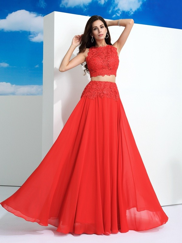 A-Line/Princess Scoop Sleeveless Lace Floor-Length Chiffon Dress