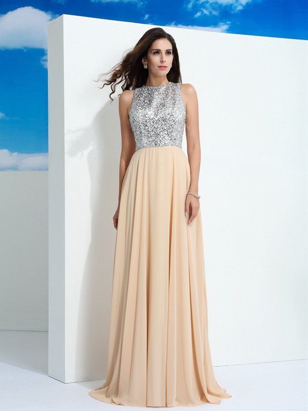 A-Line/Princess Scoop Sleeveless Paillette Sweep/Brush Train Chiffon Dress