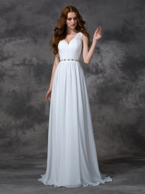 A-line/Princess Beading V-neck Sweep/Brush Train Chiffon Dresses
