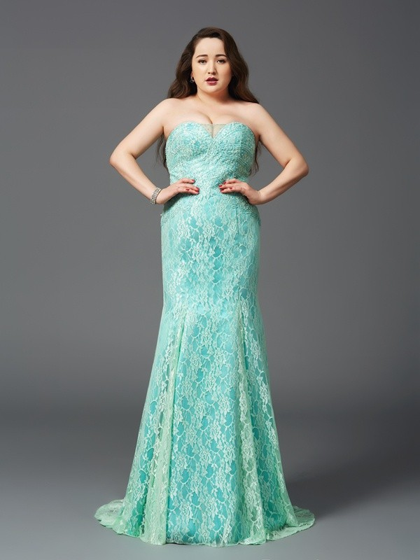 Sheath/Column Strapless Sleeveless Lace Court Train Satin Full Size Dresses