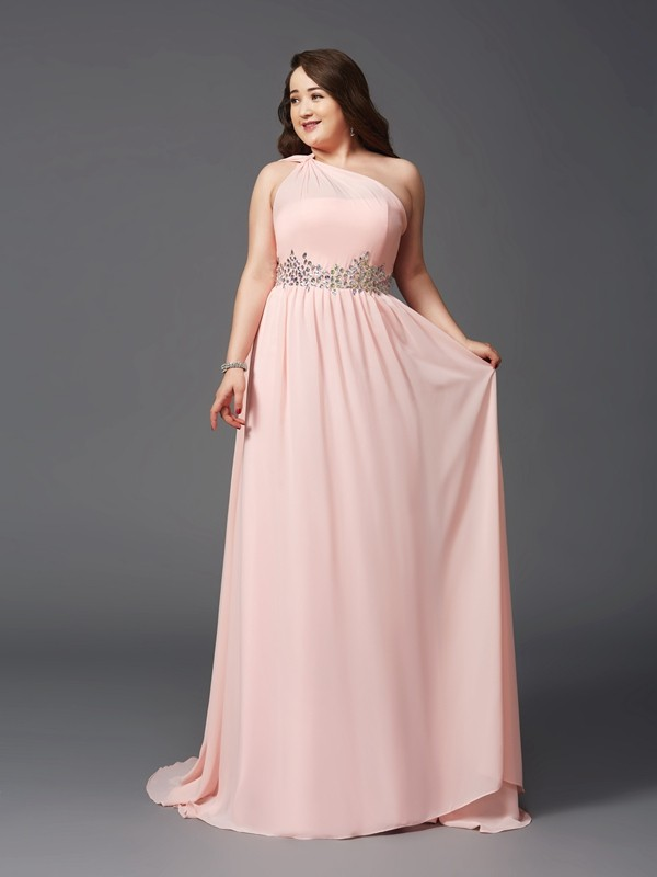 A-Line/Princess One-Shoulder Sleeveless Rhinestone Sweep/Brush Train Chiffon Full Size Dresses