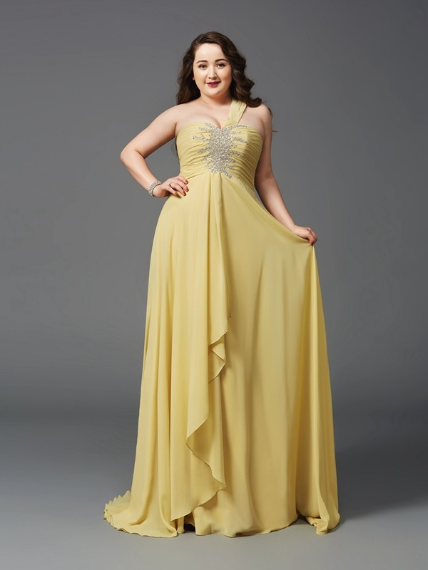 A-Line One-Shoulder Sleeveless Rhinestone Sweep/Brush Train Chiffon Full Size Dresses