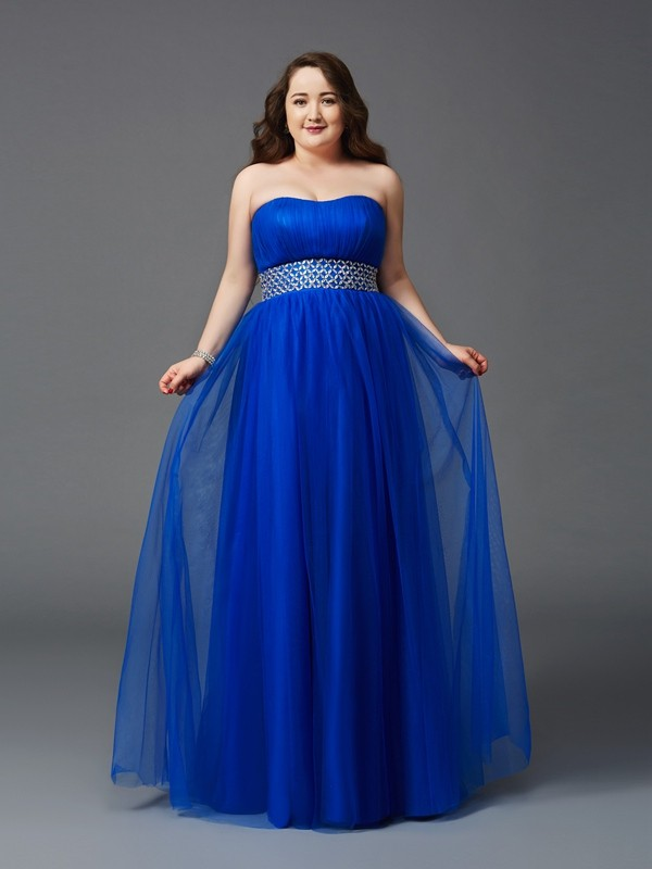 A-Line/Princess Strapless Sleeveless Beading Floor-Length Net Full Size Dresses