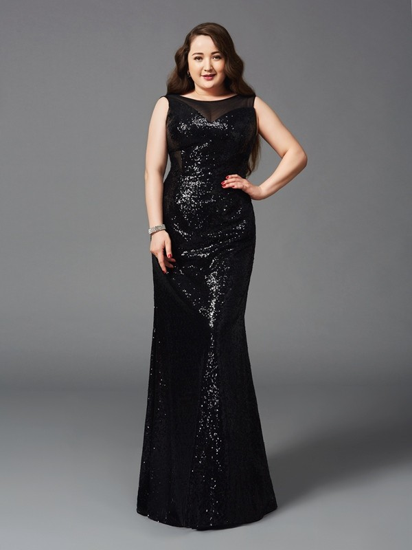 Sheath/Column Scoop Sleeveless Floor-Length Sequins Full Size Dresses