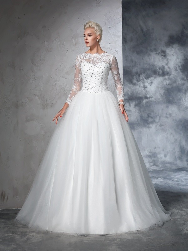 Ball Gown Long Sleeves Bateau Net Lace Sweep/Brush Train Bridal Wedding Dresses
