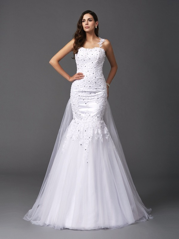 Trumpet/Mermaid Straps Sleeveless Sweep/Brush Train Net Wedding Dresses