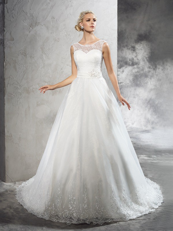 Ball Gown Sheer Neck Sleeveless Sash Court Train Net Wedding Dresses