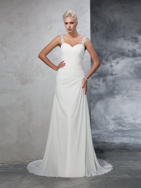 Trumpet/Mermaid Straps Sleeveless Chiffon Court Train Ruched Bridal Wedding Dresses