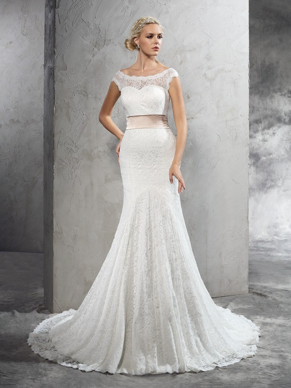 Sheath/Column Sheer Neck Sleeveless Sash Court Train Lace Wedding Dresses