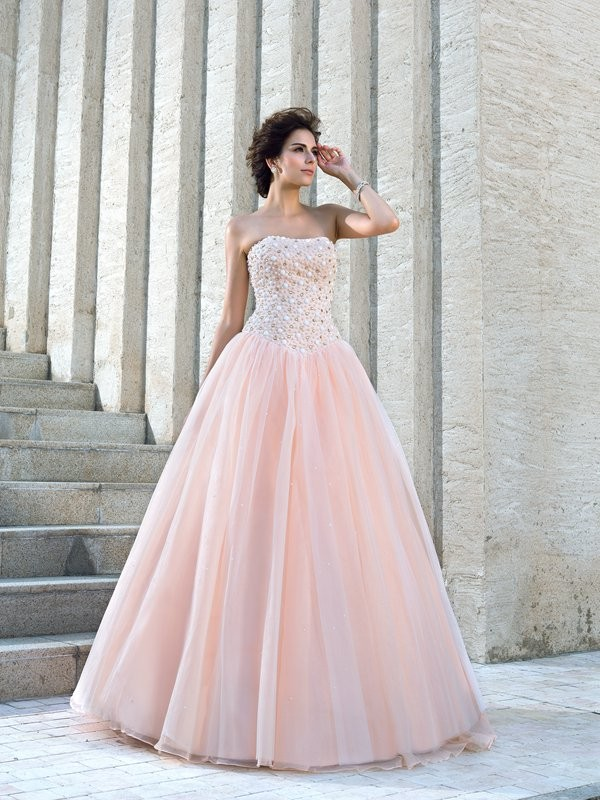 Ball Gown Sleeveless Strapless Satin Floor-Length Beading Wedding Dress