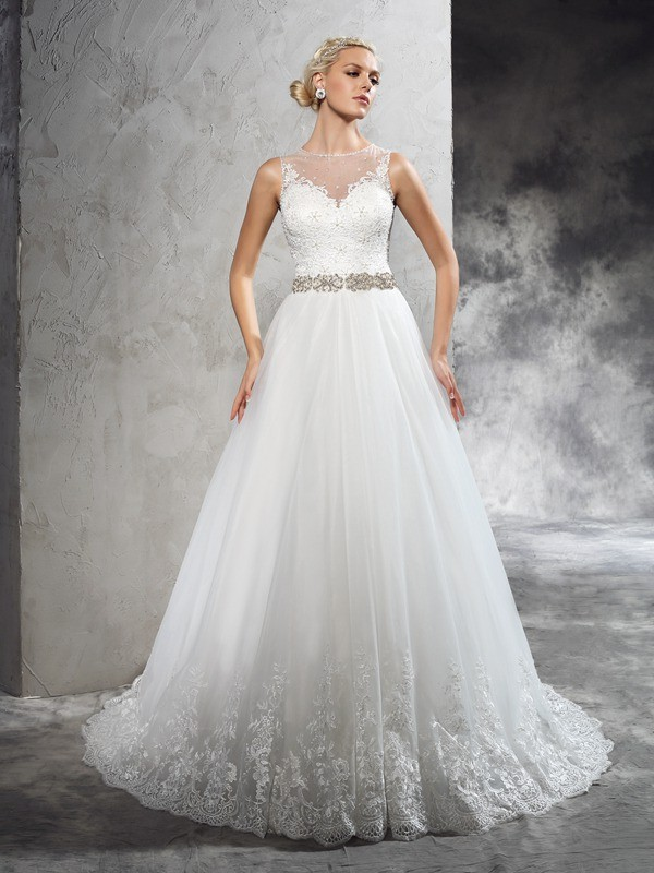 Princess Sheer Neck Sleeveless Beading Court Train Net Wedding Dresses