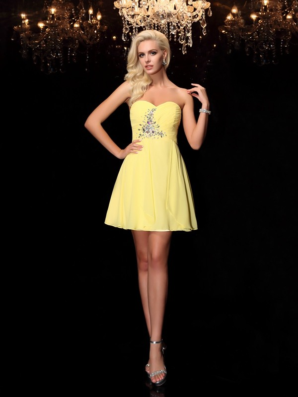 A-line/Princess Sweetheart Rhinestone Mini Chiffon Dresses
