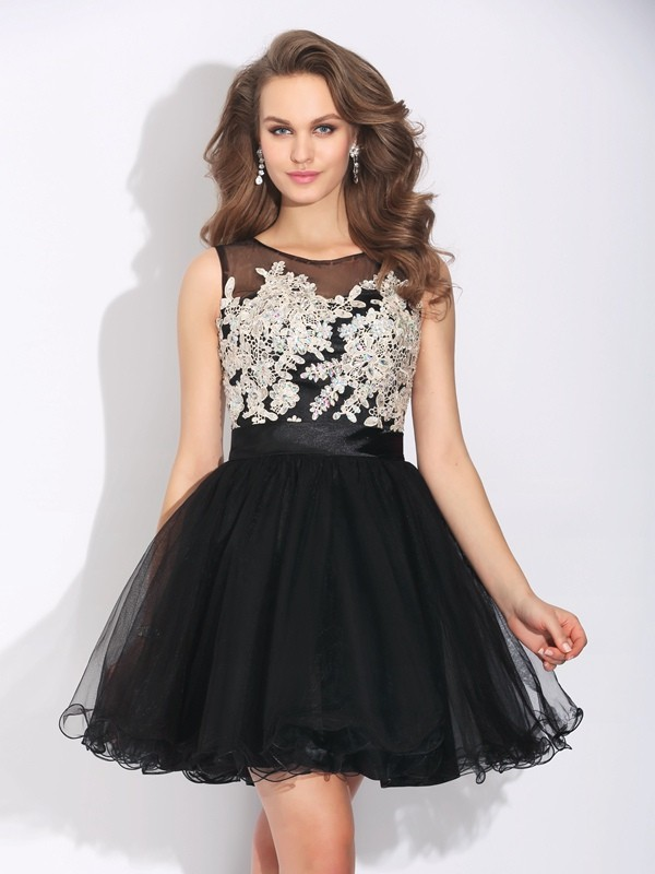 A-Line/Princess Sleeveless Scoop Ruffles Mini Net Dresses