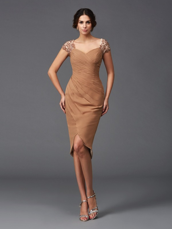 Sheath Applique Short Sleeves Sweetheart Asymmetrical Chiffon Cocktail Dresses