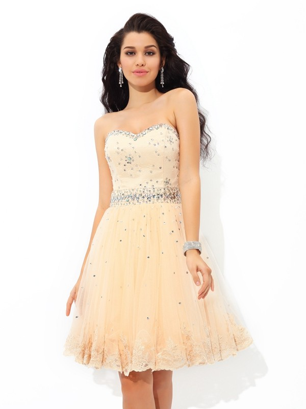 A-Line/Princess Sweetheart Beading Sleeveless Short/Mini Satin Cocktail Dress