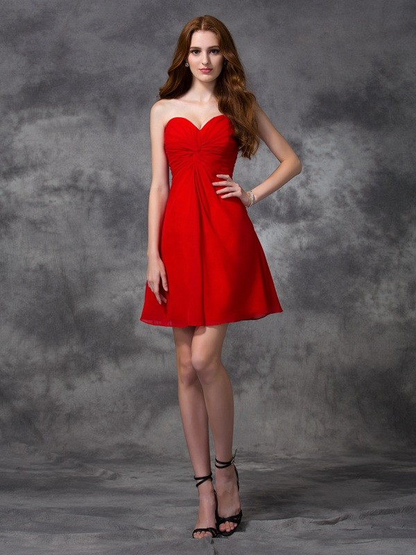 A-line/Princess Sweetheart Ruched Short/Mini Chiffon Cocktail Dresses