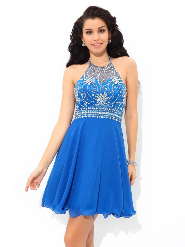 A-Line/Princess Halter Beading Sleeveless Short/Mini Chiffon Cocktail Dress