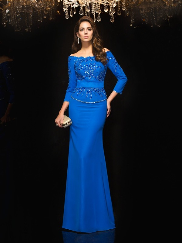 Sheath/Column Off-the-Shoulder 3/4 Sleeves Floor-Length Chiffon Dresses