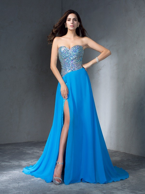 A-Line/Princess Sweetheart Sleeveless Sequin Sweep/Brush Train Chiffon Dress