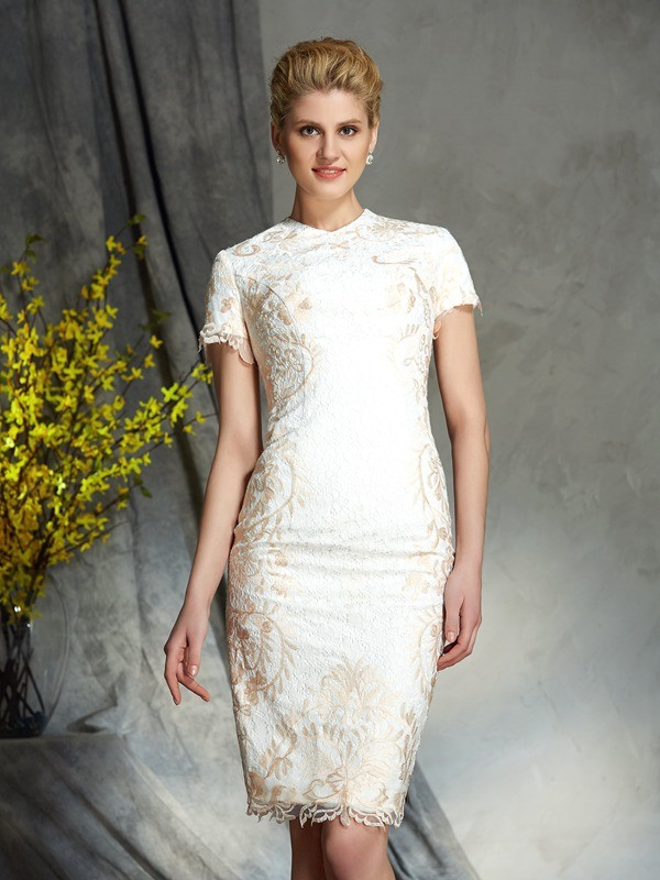 Sheath/Column Jewel Short Sleeves Lace Short/Mini Mother of the Groom Dresses