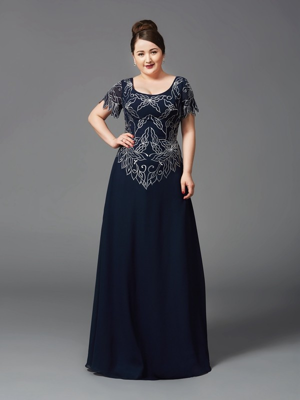 A-Line/Princess Square Short Sleeves Floor-Length Chiffon Full Size Mother of the Bride Dresses
