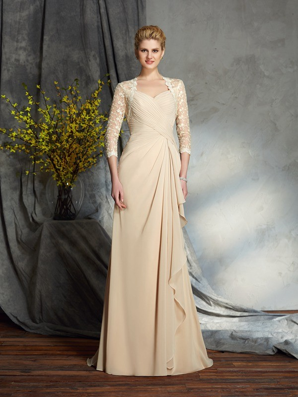 A-Line/Princess Sweetheart 3/4 Sleeves Lace Chiffon Sweep/Brush Train Mother of the Groom Dresses