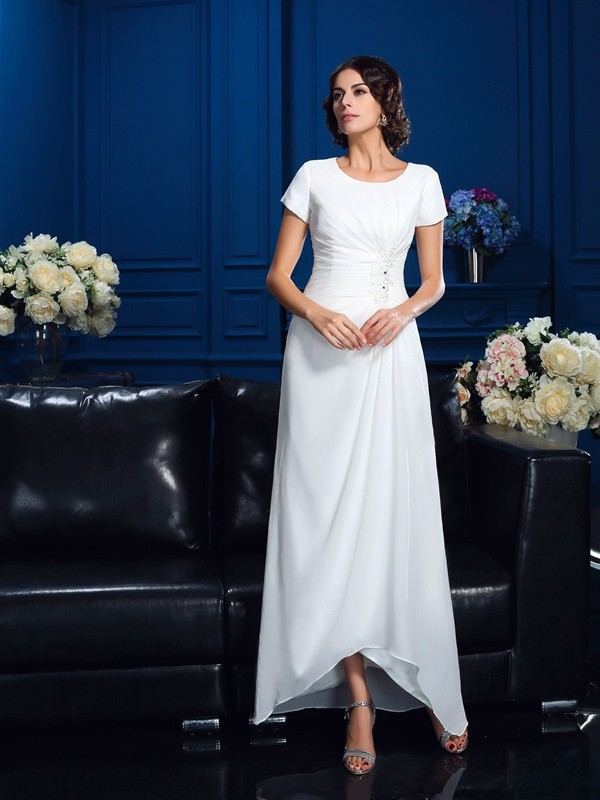 A-Line/Princess Scoop Short Sleeves Asymmetrical Chiffon Mother Dresses