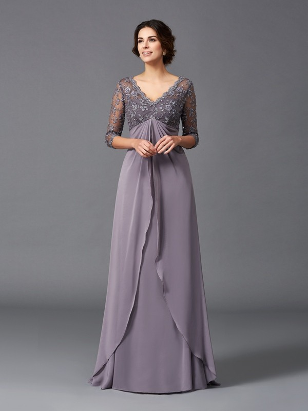 A-Line/Princess V-neck 3/4 Sleeves Lace Floor-Length Chiffon Mother of the Groom Dresses