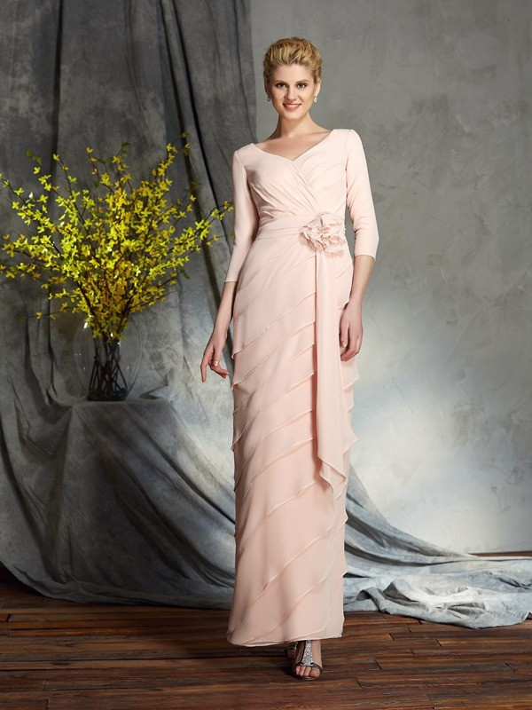 Sheath/Column V-neck 3/4 Sleeves Hand-Made Flower Chiffon Floor-Length Mother of the Groom Dresses